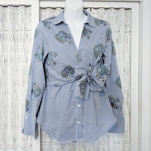 Zara Tie-Front Button Down Shirt with Bow